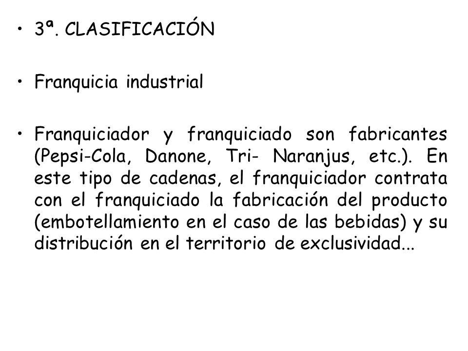 3ª. CLASIFICACIÓN Franquicia industrial Franquiciador y franquiciado son fabricantes (Pepsi-Cola, Danone, Tri- Naranjus, etc.). En este tipo de cadena