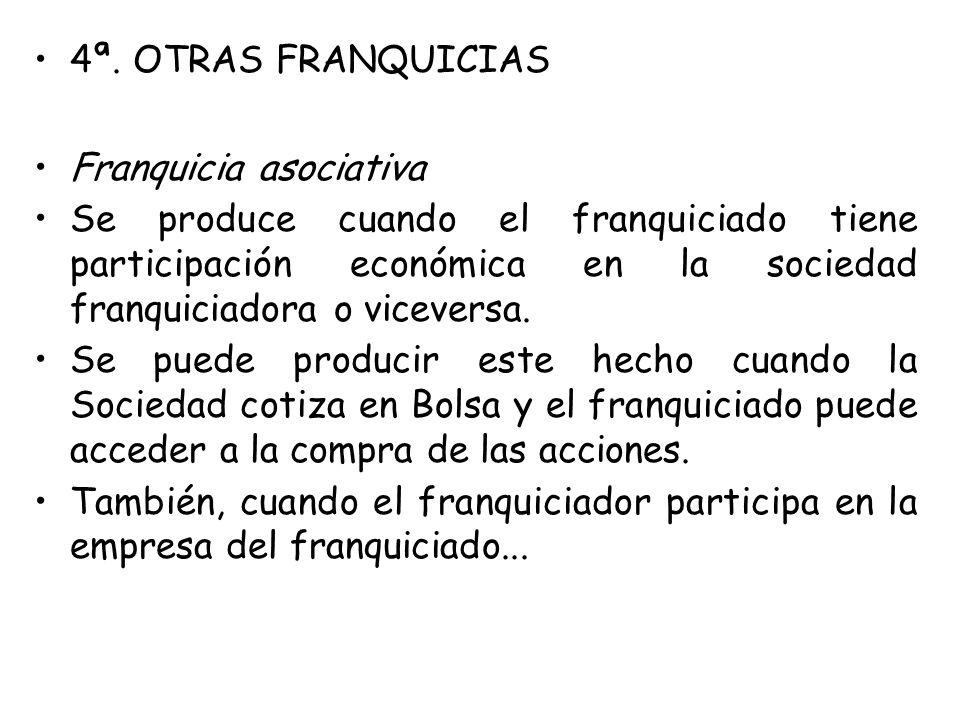 4ª. OTRAS FRANQUICIAS Franquicia asociativa Se produce cuando el franquiciado tiene participación económica en la sociedad franquiciadora o viceversa.