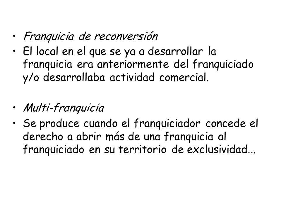 Franquicia de reconversión El local en el que se ya a desarrollar la franquicia era anteriormente del franquiciado y/o desarrollaba actividad comercia