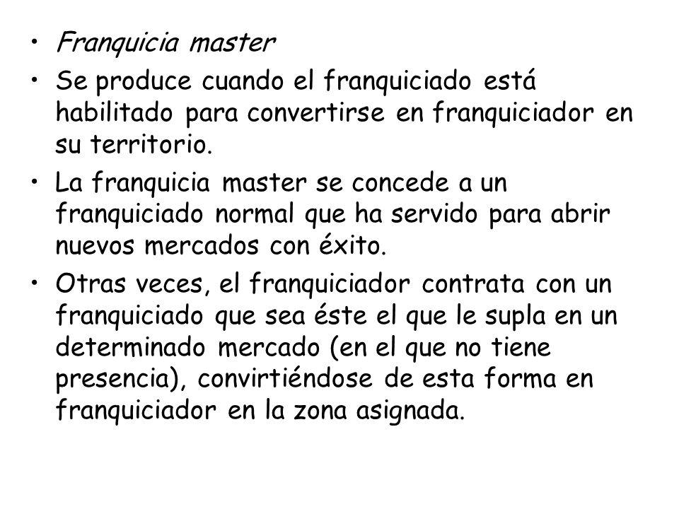 Franquicia master Se produce cuando el franquiciado está habilitado para convertirse en franquiciador en su territorio. La franquicia master se conced