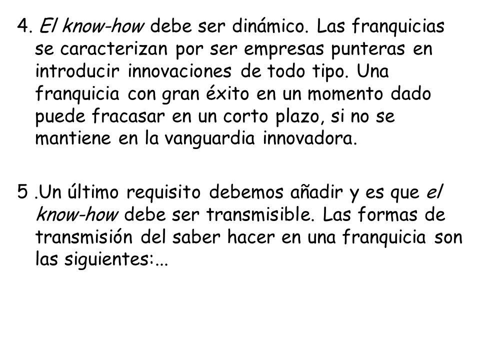 4. El know-how debe ser dinámico. Las franquicias se caracterizan por ser empresas punteras en introducir innovaciones de todo tipo. Una franquicia co