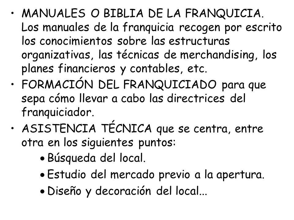 MANUALES O BIBLIA DE LA FRANQUICIA. Los manuales de la franquicia recogen por escrito los conocimientos sobre las estructuras organizativas, las técni