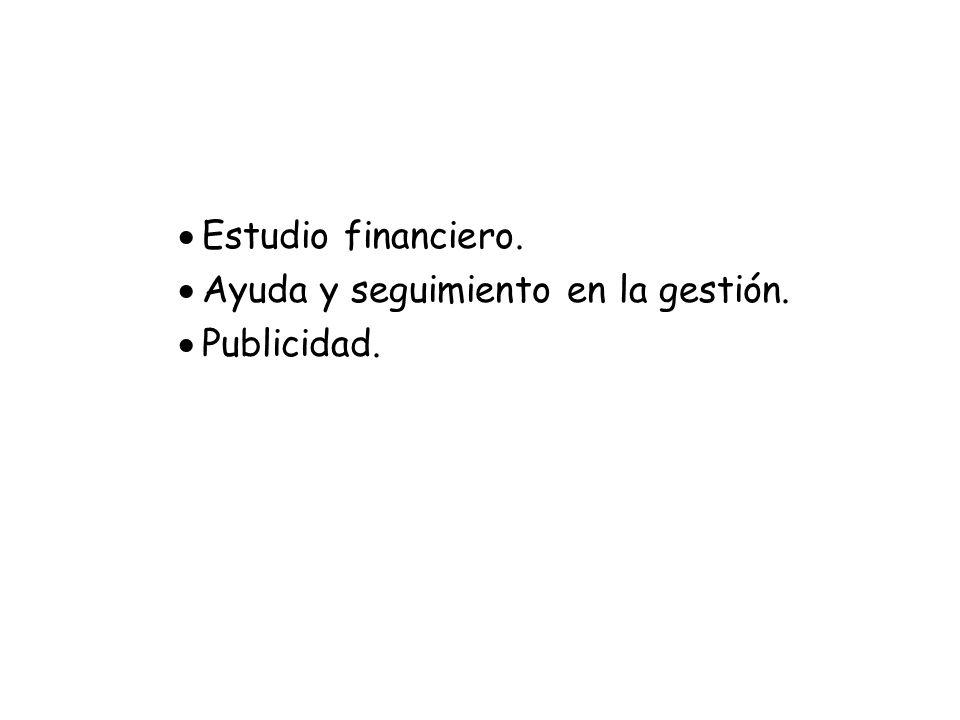 Estudio financiero. Ayuda y seguimiento en la gestión. Publicidad.