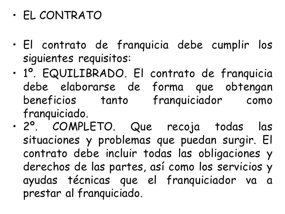 EL CONTRATO El contrato de franquicia debe cumplir los siguientes requisitos: 1º. EQUILIBRADO. El contrato de franquicia debe elaborarse de forma que
