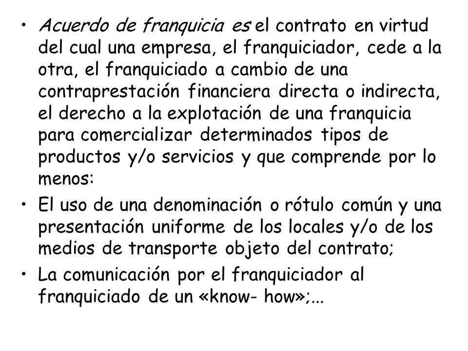 Acuerdo de franquicia es el contrato en virtud del cual una empresa, el franquiciador, cede a la otra, el franquiciado a cambio de una contraprestació