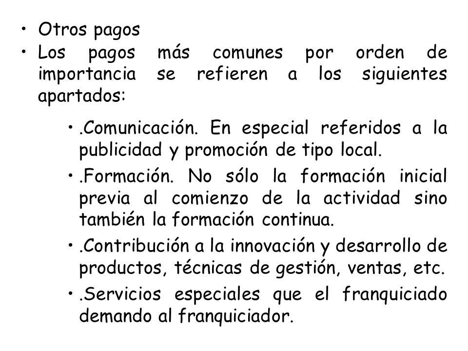 Otros pagos Los pagos más comunes por orden de importancia se refieren a los siguientes apartados:.Comunicación. En especial referidos a la publicidad