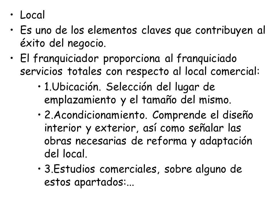 Local Es uno de los elementos claves que contribuyen al éxito del negocio. El franquiciador proporciona al franquiciado servicios totales con respecto