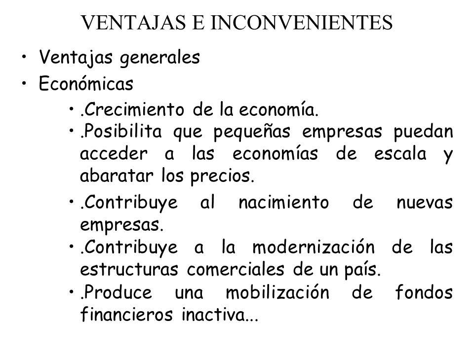 VENTAJAS E INCONVENIENTES Ventajas generales Económicas.Crecimiento de la economía..Posibilita que pequeñas empresas puedan acceder a las economías de