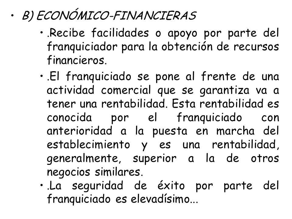 B) ECONÓMICO-FINANCIERAS.Recibe facilidades o apoyo por parte del franquiciador para la obtención de recursos financieros..El franquiciado se pone al