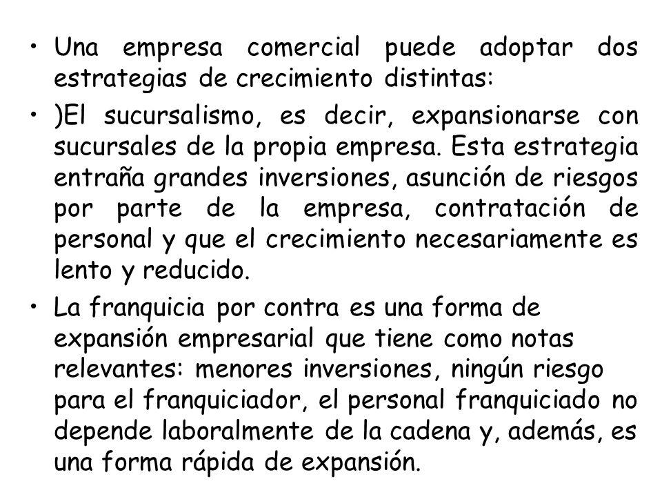 Una empresa comercial puede adoptar dos estrategias de crecimiento distintas: )El sucursalismo, es decir, expansionarse con sucursales de la propia em