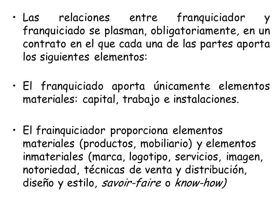 Las relaciones entre franquiciador y franquiciado se plasman, obligatoriamente, en un contrato en el que cada una de las partes aporta los siguientes
