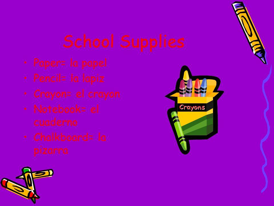 School Supplies Paper= la papel Pencil= la lapiz Crayon= el crayon Notebook= el cuaderno Chalkboard= la pizarra