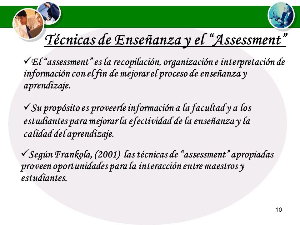 9 Según Ángelo y Cross, (1993) el assessment es un enfoque diseñado para ayudar a los maestros a determinar qué los estudiantes están aprendiendo y cu