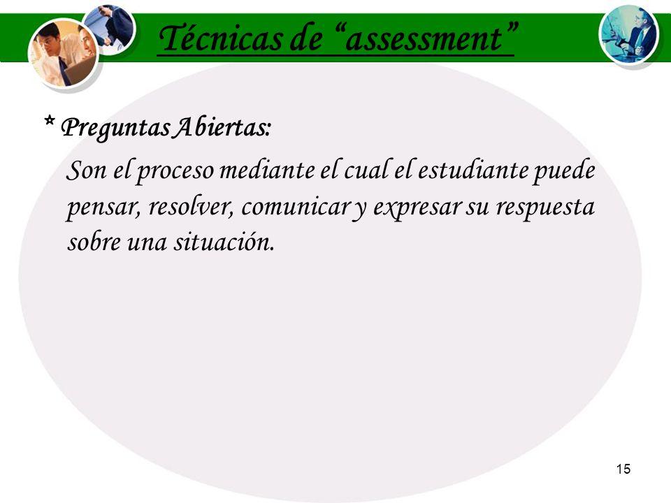 14 * Lista focalizada: Es una técnica de assessment que dirige la atención del estudiante hacia un término, nombre o concepto de una lección en partic