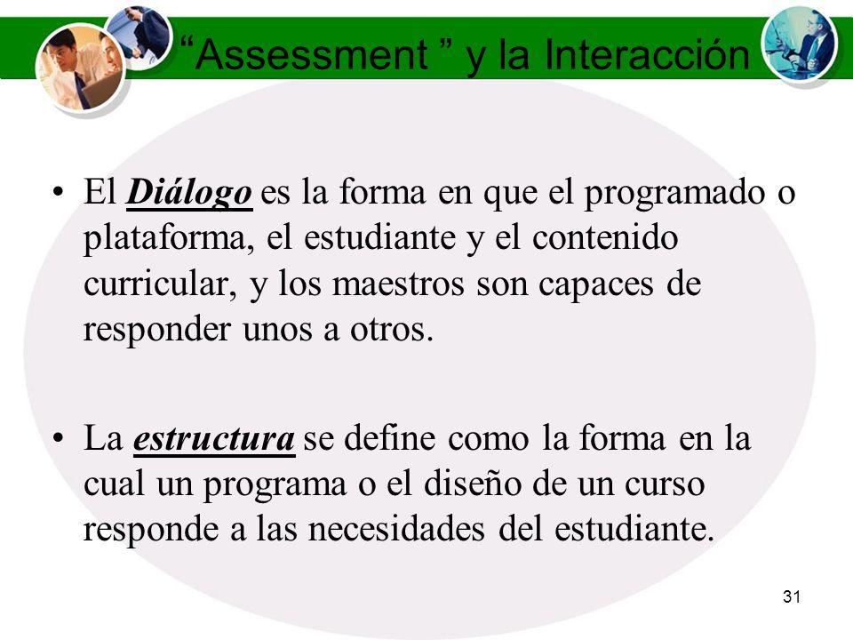 30 Assessment y la Interacción Según Moore, (1991) la distancia transaccional está determinada por dos variables: El Diálogo La Estructura