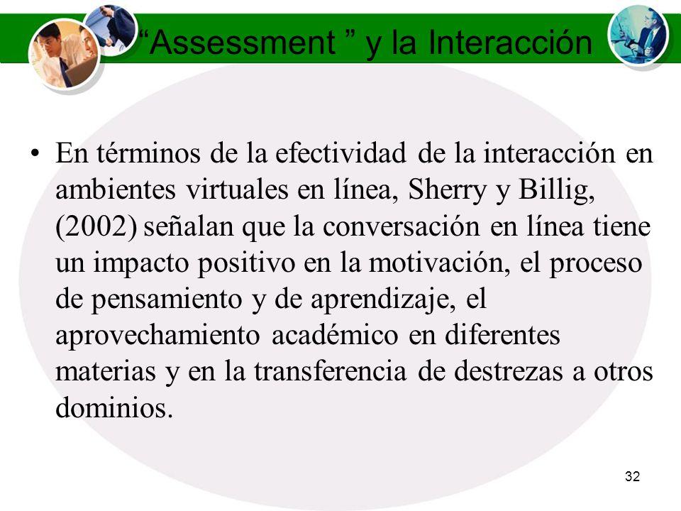 31 Assessment y la Interacción El Diálogo es la forma en que el programado o plataforma, el estudiante y el contenido curricular, y los maestros son c