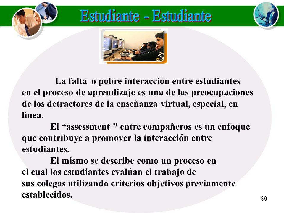 38 Otras técnicas de assessmentque los maestros virtuales pueden utilizar son: Otras técnicas de assessmentque los maestros virtuales pueden utilizar