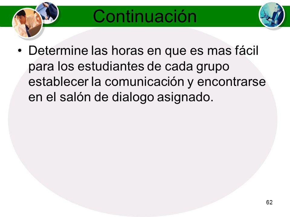 61 Manejo de los Salones de Dialogo Sincronico (Chat) Divida la clase en subgrupos de entre tres a seis estudiantes. Asigne un salón de dialogo a cada