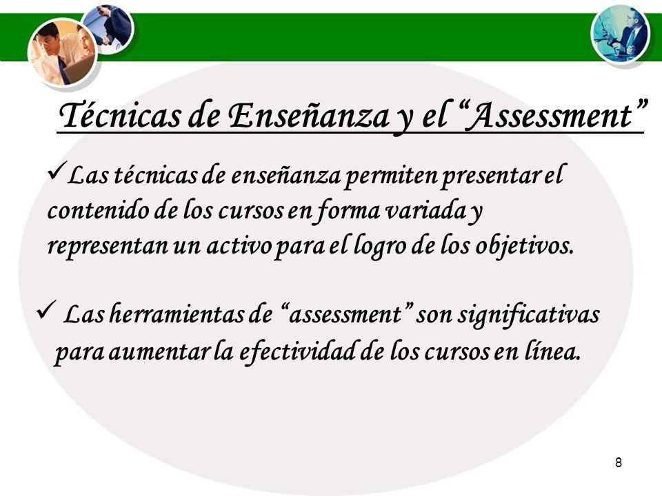 8 Técnicas de Enseñanza y el Assessment Las herramientas de assessment son significativas para aumentar la efectividad de los cursos en línea.