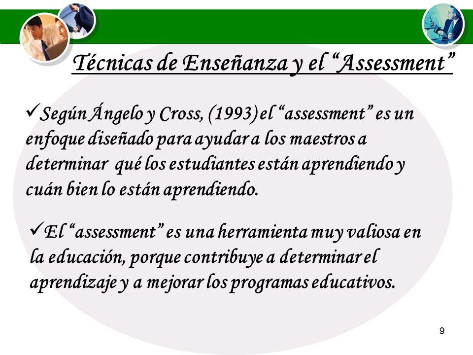 9 Según Ángelo y Cross, (1993) el assessment es un enfoque diseñado para ayudar a los maestros a determinar qué los estudiantes están aprendiendo y cuán bien lo están aprendiendo.