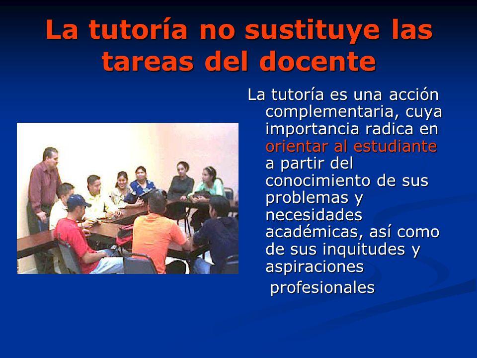 La tutoría no sustituye las tareas del docente La tutoría es una acción complementaria, cuya importancia radica en orientar al estudiante a partir del