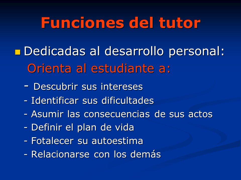 Funciones del tutor Dedicadas al desarrollo personal: Dedicadas al desarrollo personal: Orienta al estudiante a: Orienta al estudiante a: - Descubrir
