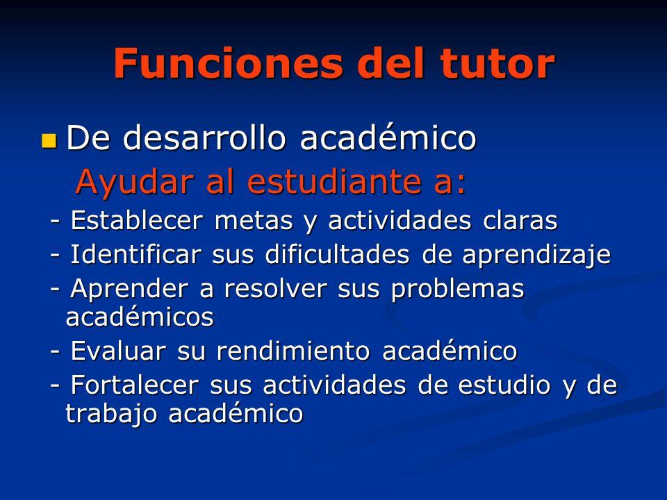 Funciones del tutor De desarrollo académico De desarrollo académico Ayudar al estudiante a: Ayudar al estudiante a: - Establecer metas y actividades c