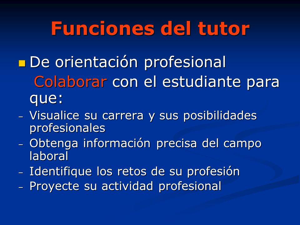 Funciones del tutor De orientación profesional De orientación profesional Colaborar con el estudiante para que: Colaborar con el estudiante para que: