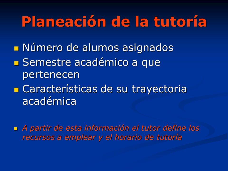 Planeación de la tutoría Número de alumos asignados Número de alumos asignados Semestre académico a que pertenecen Semestre académico a que pertenecen