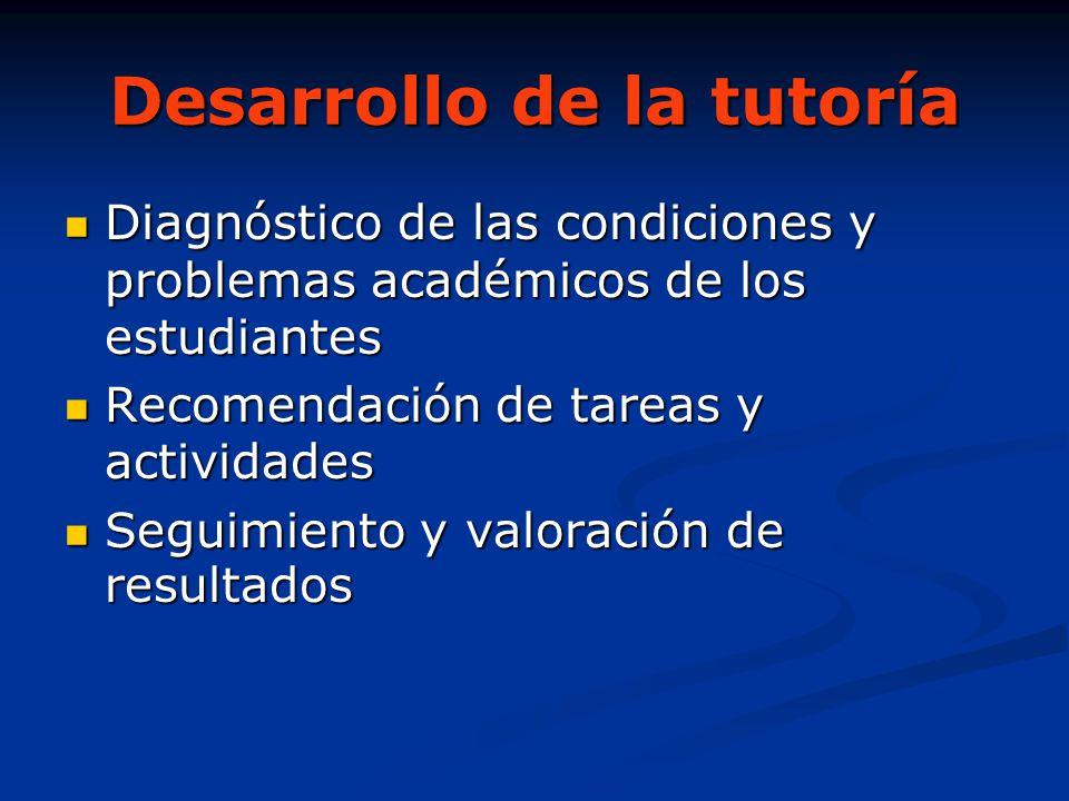 Desarrollo de la tutoría Diagnóstico de las condiciones y problemas académicos de los estudiantes Diagnóstico de las condiciones y problemas académico