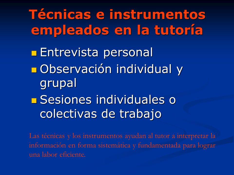 Técnicas e instrumentos empleados en la tutoría Entrevista personal Entrevista personal Observación individual y grupal Observación individual y grupa