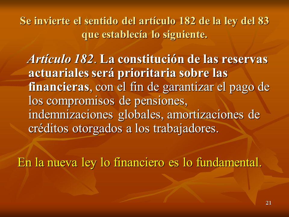 21 Se invierte el sentido del artículo 182 de la ley del 83 que establecía lo siguiente. Artículo 182. La constitución de las reservas actuariales ser