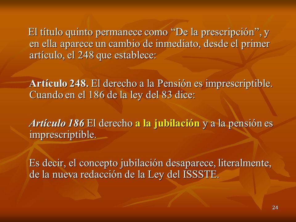 24 El título quinto permanece como De la prescripción, y en ella aparece un cambio de inmediato, desde el primer artículo, el 248 que establece: El tí