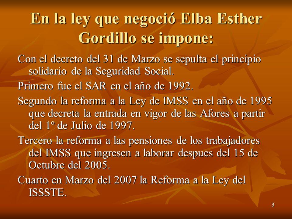 3 En la ley que negoció Elba Esther Gordillo se impone: Con el decreto del 31 de Marzo se sepulta el principio solidario de la Seguridad Social. Prime
