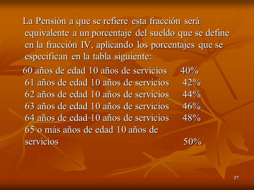 37 La Pensión a que se refiere esta fracción será equivalente a un porcentaje del sueldo que se define en la fracción IV, aplicando los porcentajes que se especifican en la tabla siguiente: La Pensión a que se refiere esta fracción será equivalente a un porcentaje del sueldo que se define en la fracción IV, aplicando los porcentajes que se especifican en la tabla siguiente: 60 años de edad 10 años de servicios 40% 61 años de edad 10 años de servicios 42% 62 años de edad 10 años de servicios 44% 63 años de edad 10 años de servicios 46% 64 años de edad 10 años de servicios 48% 65 o más años de edad 10 años de servicios 50% 60 años de edad 10 años de servicios 40% 61 años de edad 10 años de servicios 42% 62 años de edad 10 años de servicios 44% 63 años de edad 10 años de servicios 46% 64 años de edad 10 años de servicios 48% 65 o más años de edad 10 años de servicios 50%