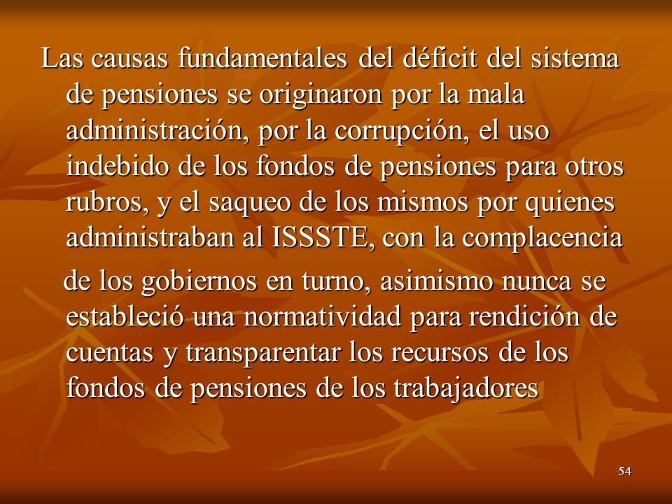 54 Las causas fundamentales del déficit del sistema de pensiones se originaron por la mala administración, por la corrupción, el uso indebido de los f