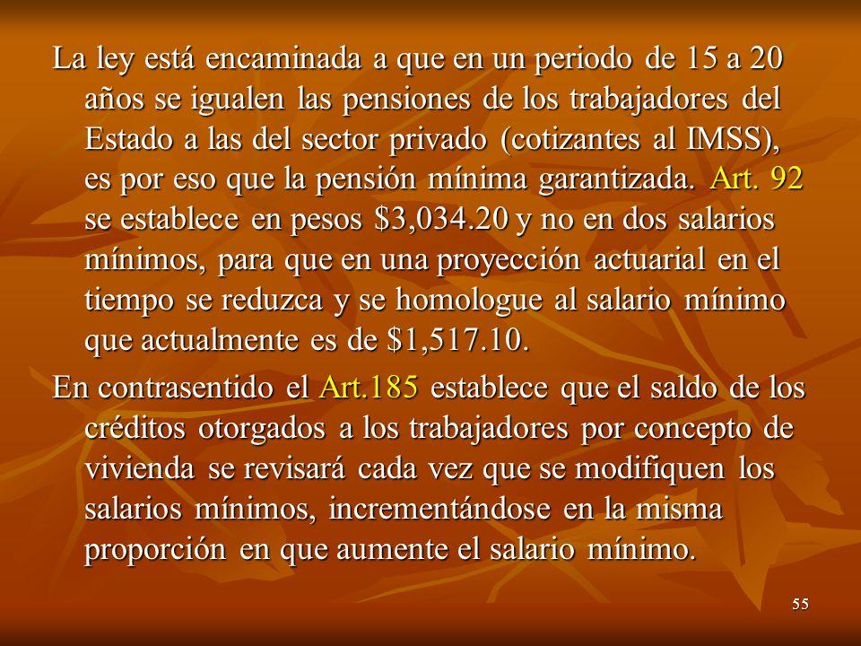 55 La ley está encaminada a que en un periodo de 15 a 20 años se igualen las pensiones de los trabajadores del Estado a las del sector privado (cotizantes al IMSS), es por eso que la pensión mínima garantizada.