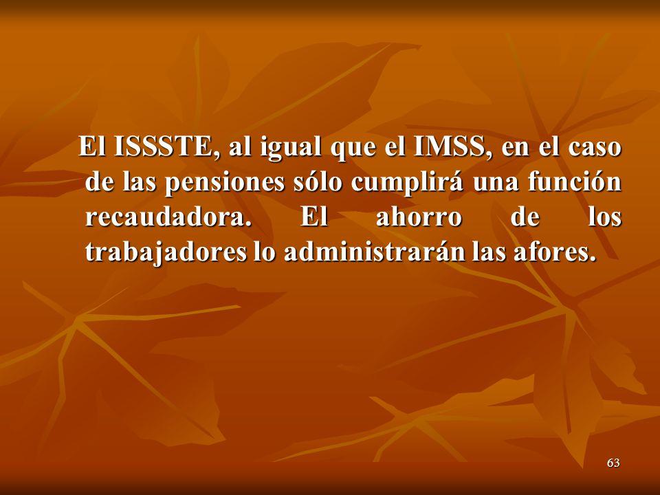 63 El ISSSTE, al igual que el IMSS, en el caso de las pensiones sólo cumplirá una función recaudadora. El ahorro de los trabajadores lo administrarán