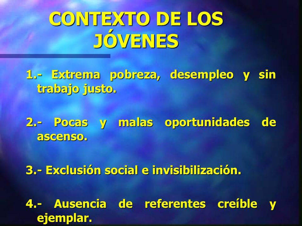 HISTORIA DE LOS JÓVENES 1.- Subordinación ante el periodo adulto. 2.- Marginación de las responsabilidades sociales. 3.- Exclusión social de las oport