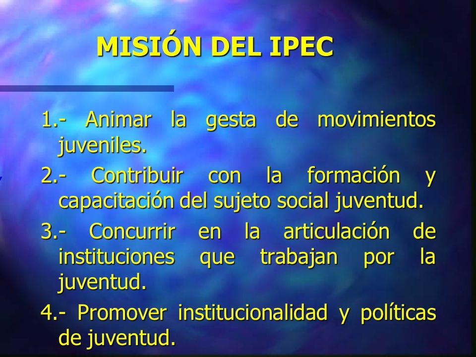 VISIÓN DEL IPEC Sociedad democrática con respeto a la diversidad cultural e igualdad ciudadana.