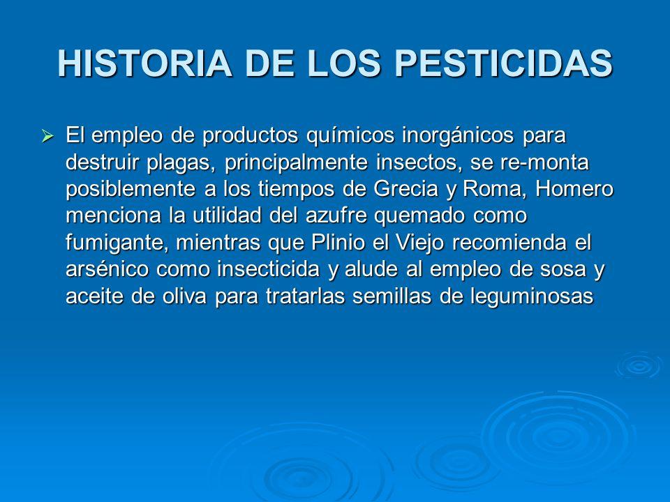 El empleo de productos químicos inorgánicos para destruir plagas, principalmente insectos, se re-monta posiblemente a los tiempos de Grecia y Roma, Ho