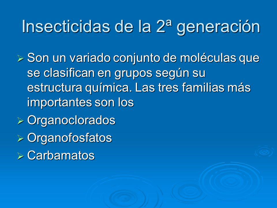 Insecticidas de la 2ª generación Insecticidas de la 2ª generación Son un variado conjunto de moléculas que se clasifican en grupos según su estructura química.