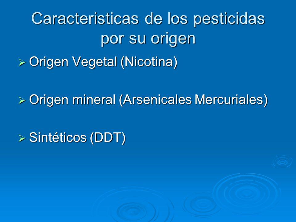 Caracteristicas de los pesticidas por su origen Origen Vegetal (Nicotina) Origen Vegetal (Nicotina) Origen mineral (Arsenicales Mercuriales) Origen mineral (Arsenicales Mercuriales) Sintéticos (DDT) Sintéticos (DDT)