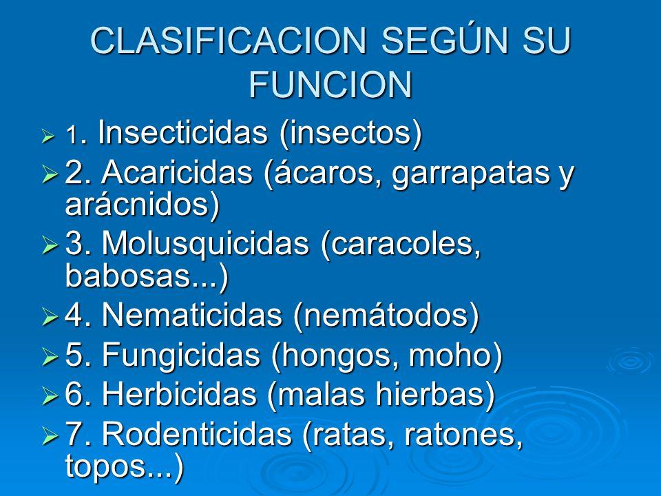 CLASIFICACION SEGÚN SU FUNCION 1.Insecticidas (insectos) 1.