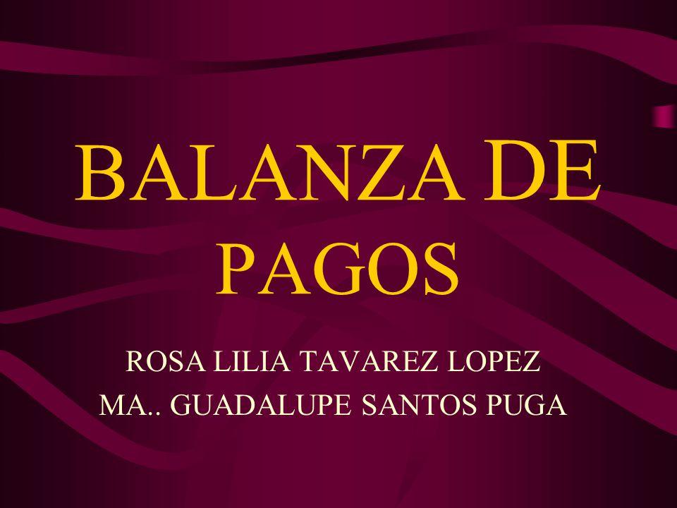 BALANZA DE PAGOS ROSA LILIA TAVAREZ LOPEZ MA.. GUADALUPE SANTOS PUGA
