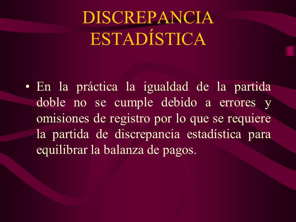 DISCREPANCIA ESTADÍSTICA En la práctica la igualdad de la partida doble no se cumple debido a errores y omisiones de registro por lo que se requiere l