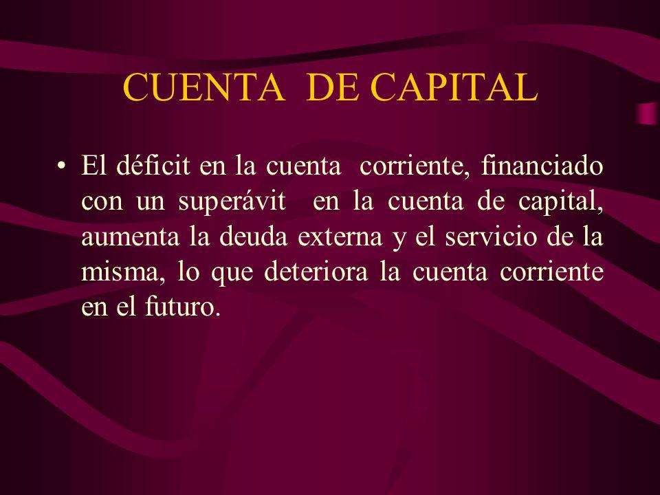 CUENTA DE CAPITAL El déficit en la cuenta corriente, financiado con un superávit en la cuenta de capital, aumenta la deuda externa y el servicio de la
