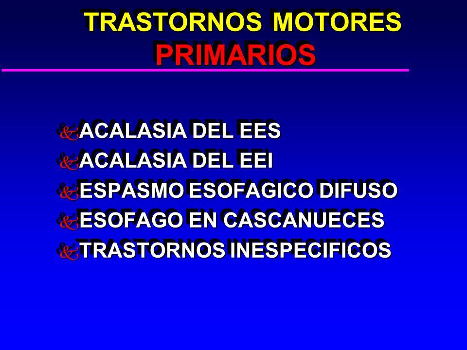 TRASTORNOS MOTORES PRIMARIOS TRASTORNOS MOTORES PRIMARIOS k ACALASIA DEL EES k ACALASIA DEL EEI k ESPASMO ESOFAGICO DIFUSO k ESOFAGO EN CASCANUECES k TRASTORNOS INESPECIFICOS k ACALASIA DEL EES k ACALASIA DEL EEI k ESPASMO ESOFAGICO DIFUSO k ESOFAGO EN CASCANUECES k TRASTORNOS INESPECIFICOS
