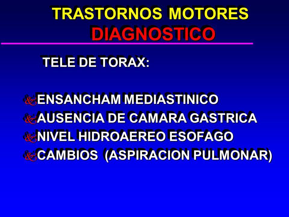 TRASTORNOS MOTORES DIAGNOSTICO TRASTORNOS MOTORES DIAGNOSTICO TELE DE TORAX: TELE DE TORAX: k ENSANCHAM MEDIASTINICO k AUSENCIA DE CAMARA GASTRICA k NIVEL HIDROAEREO ESOFAGO k CAMBIOS (ASPIRACION PULMONAR) TELE DE TORAX: TELE DE TORAX: k ENSANCHAM MEDIASTINICO k AUSENCIA DE CAMARA GASTRICA k NIVEL HIDROAEREO ESOFAGO k CAMBIOS (ASPIRACION PULMONAR)