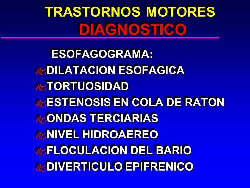TRASTORNOS MOTORES DIAGNOSTICO TRASTORNOS MOTORES DIAGNOSTICO ESOFAGOGRAMA: ESOFAGOGRAMA: k DILATACION ESOFAGICA k TORTUOSIDAD k ESTENOSIS EN COLA DE RATON k ONDAS TERCIARIAS k NIVEL HIDROAEREO k FLOCULACION DEL BARIO k DIVERTICULO EPIFRENICO ESOFAGOGRAMA: ESOFAGOGRAMA: k DILATACION ESOFAGICA k TORTUOSIDAD k ESTENOSIS EN COLA DE RATON k ONDAS TERCIARIAS k NIVEL HIDROAEREO k FLOCULACION DEL BARIO k DIVERTICULO EPIFRENICO